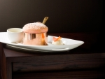 Turkish Delight Souffle with halva ice cream and lychees