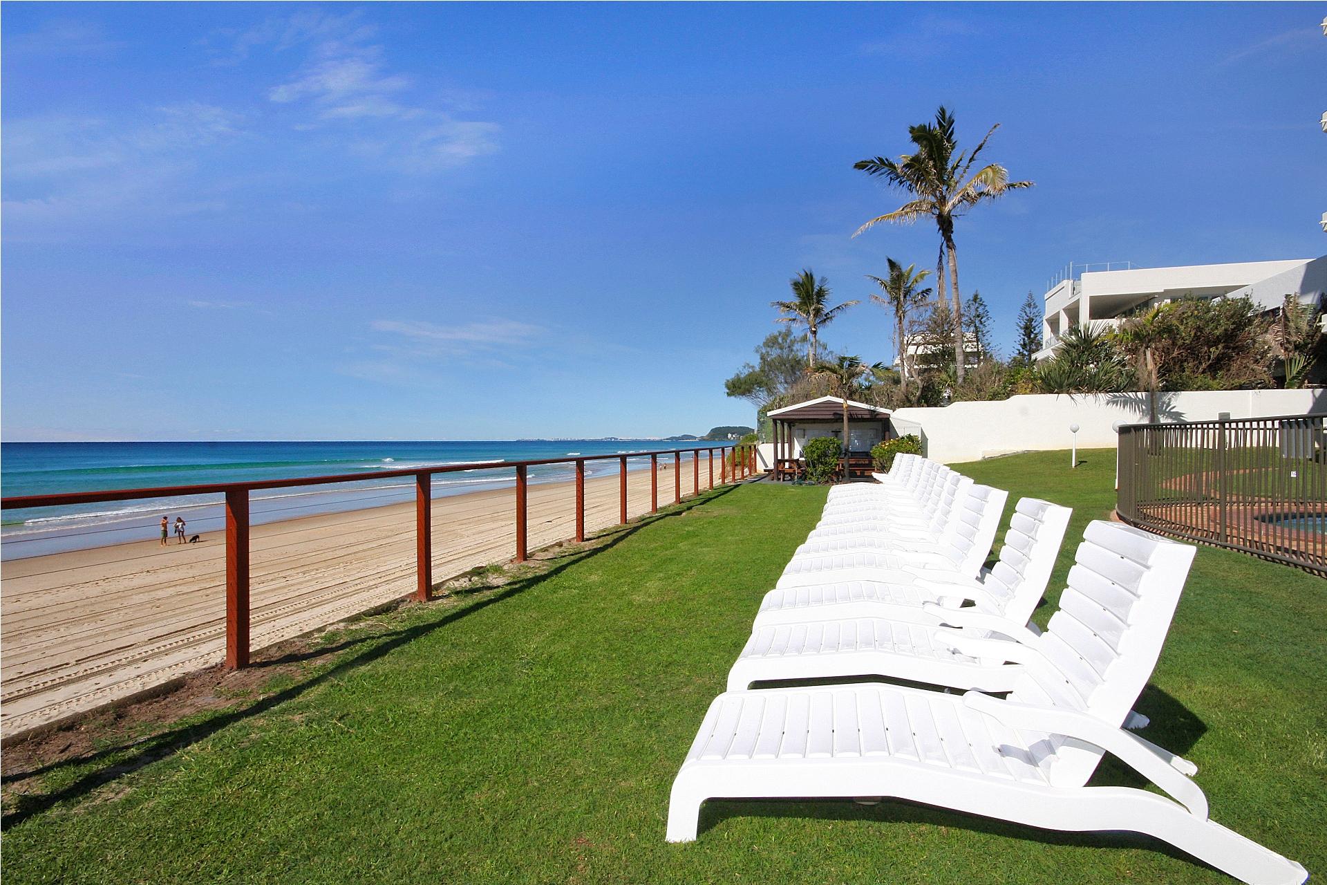 Sun Lounges overlooking the beach & ocean
