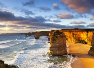 The Great Ocean Road Twelve Apostles at sunset. Great Ocean Road, Victoria, Australia.