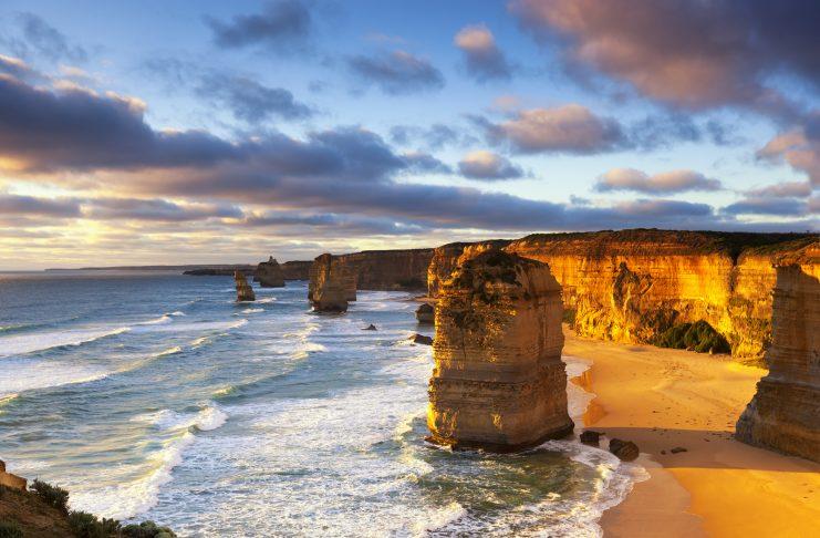 The Great Ocean Road Twelve Apostles at sunset. Great Ocean Road, Victoria, Australia.